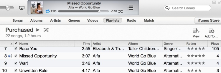 iTunes with latest Alfa tracks