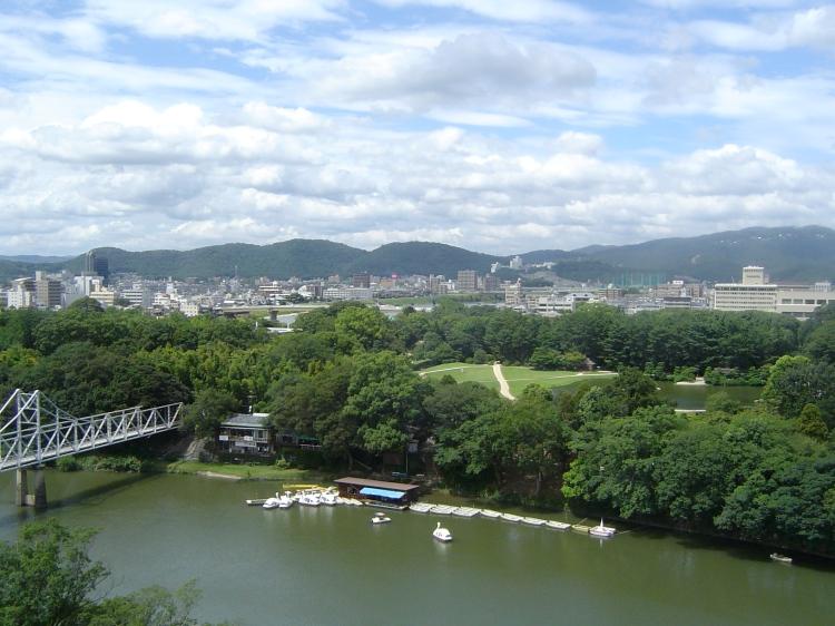 Okayama City as seen from Okayama Castle
